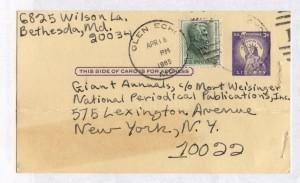 Irene Vartanoff's card to DC Comics April 16, 1965